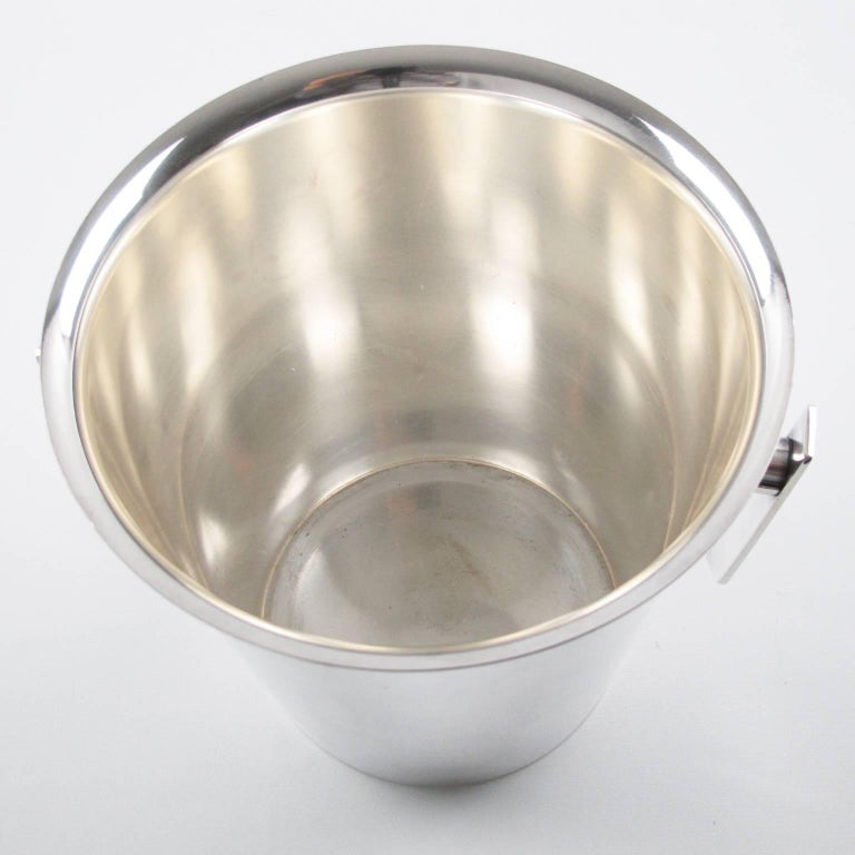 Mid-Century Modern Silver Plate Champagne Bucket Wine Cooler, France circa 1950s 6