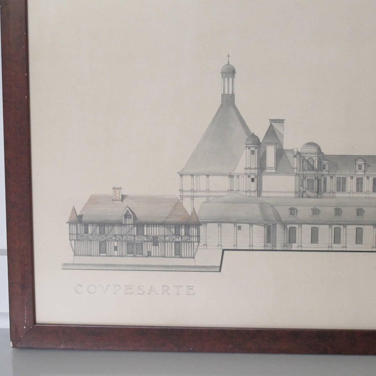 Original architecture sketches study drawing for french for Architectural drawings for sale