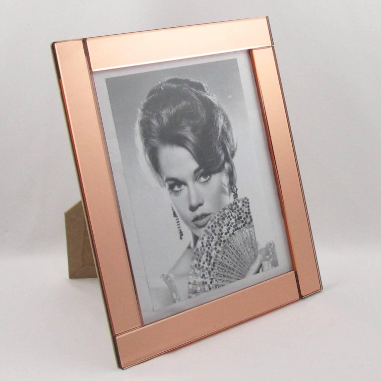 large 1940s french copper pink mirror picture photo frame for sale at 1stdibs. Black Bedroom Furniture Sets. Home Design Ideas