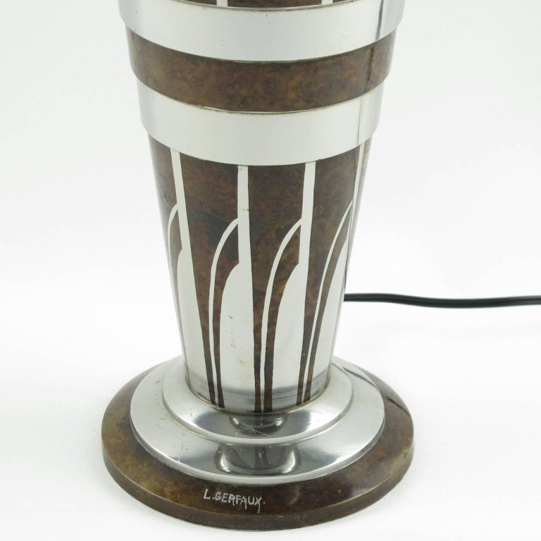 Metal Art Deco Dinanderie Uplight Table Lamp by Lucien Gerfaux, France, circa 1930s For Sale