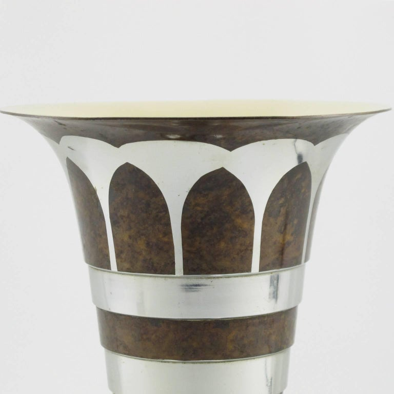Art Deco Dinanderie Uplight Table Lamp by Lucien Gerfaux, France, circa 1930s For Sale 2