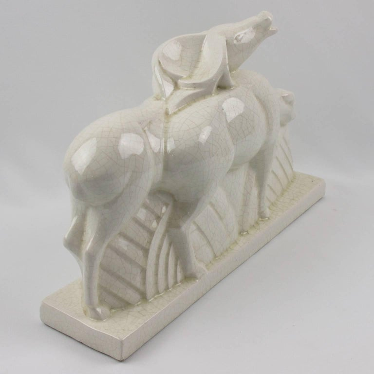 French Art Deco Crackle Ceramic Antelopes by Charles Lemanceau for St Clement For Sale 1