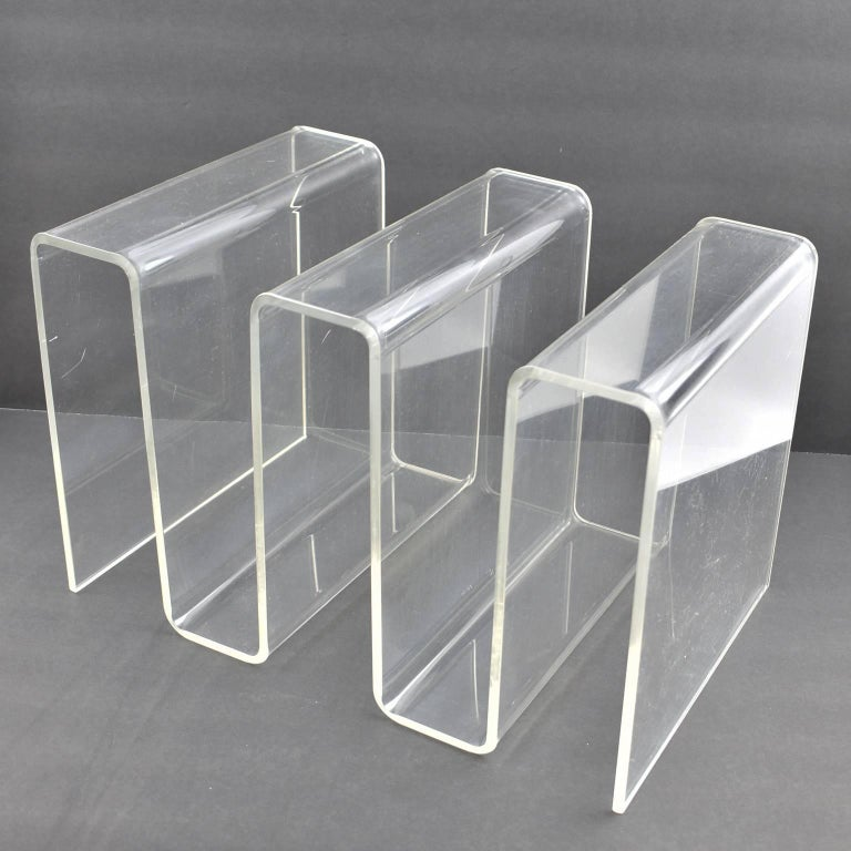 Large Zig Zag Shape Lucite Magazine Rack Stand Letter Holder Desk Extraordinary Lucite Magazine Holder