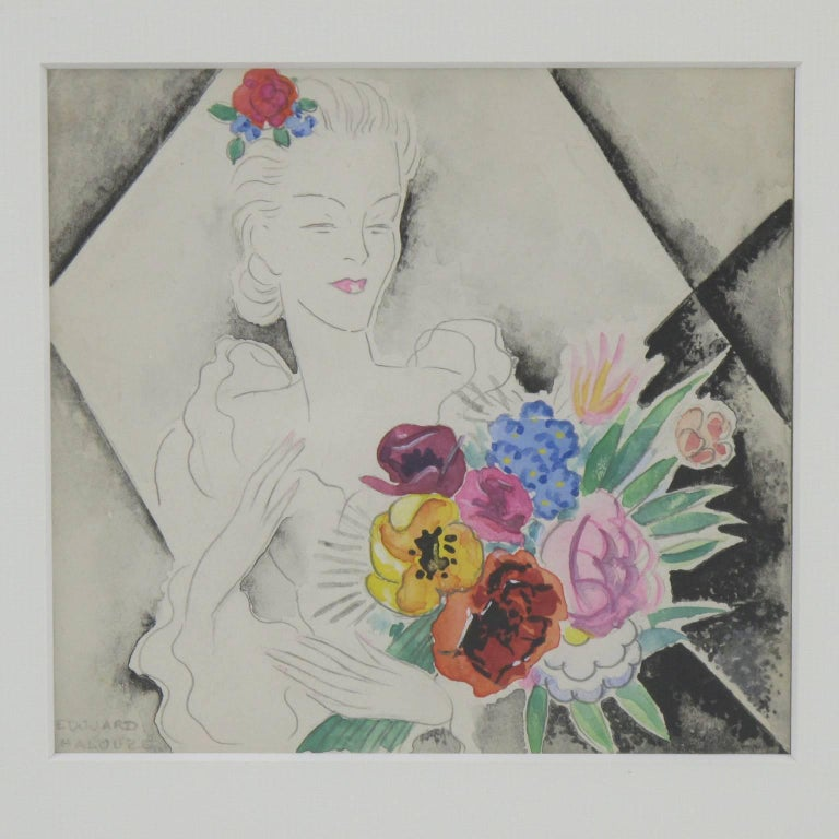 Stunning French Art Deco original illustration drawing, with Chinese ink and watercolor by Edouard Halouze. Featuring an elegant woman with a large bunch of flowers. Drawing is signed Edouard Halouze on bottom left corner. Edouard Halouze