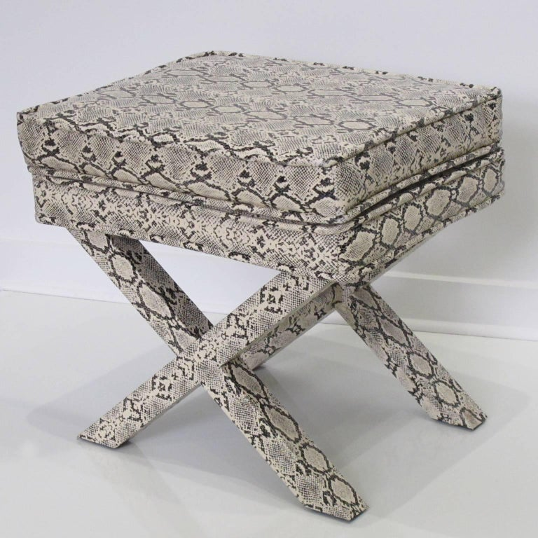 20th Century Billy Baldwin Style Python Leather X-Bench Ottoman Footstool For Sale