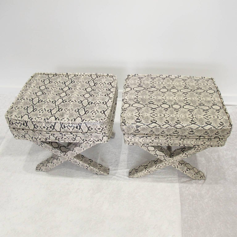 Billy Baldwin Style Python Leather X-Bench Ottoman Footstool For Sale 9