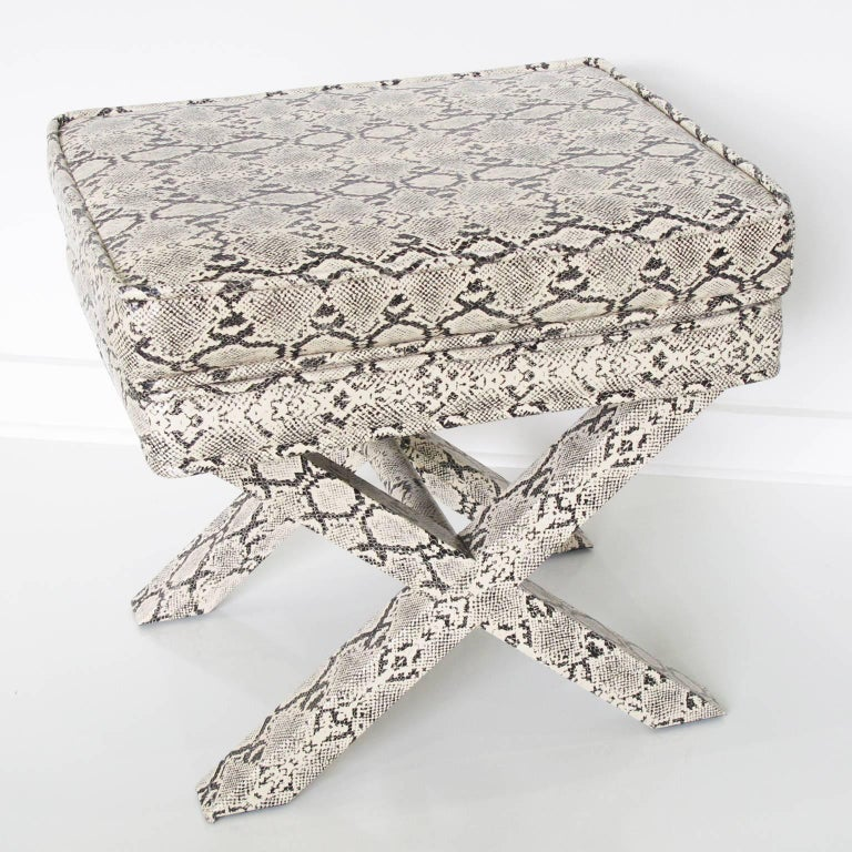 Billy Baldwin Style Python Leather X-Bench Ottoman Footstool For Sale 10