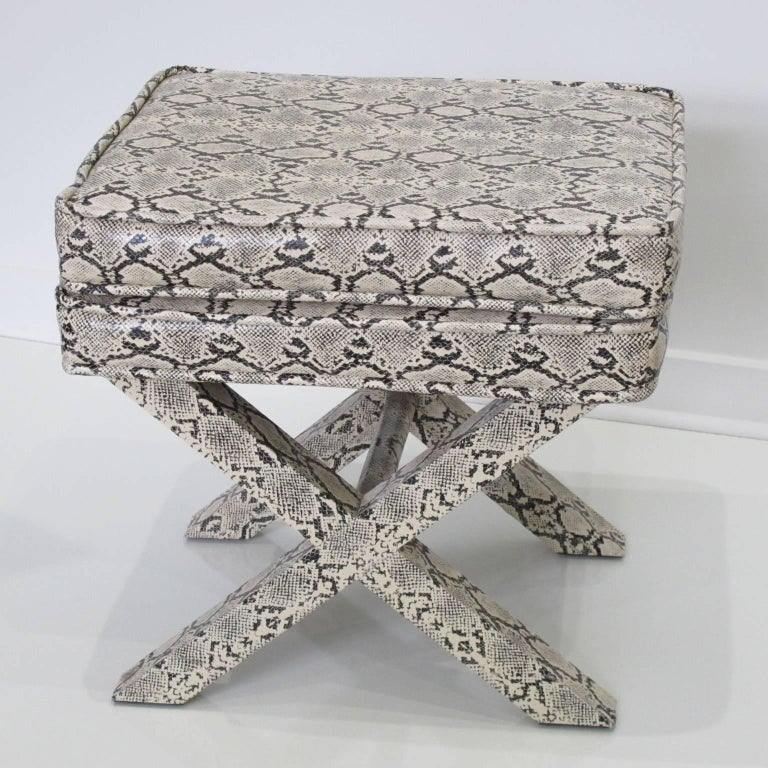 Billy Baldwin Style Python Leather X-Bench Ottoman Footstool In Good Condition For Sale In Atlanta, GA