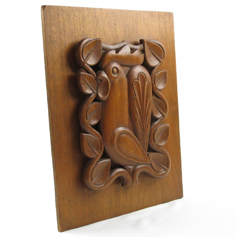 Superbly Handcrafted French Mid Century Modernist Wood Wall Art Sculpture Panel Mounted On A