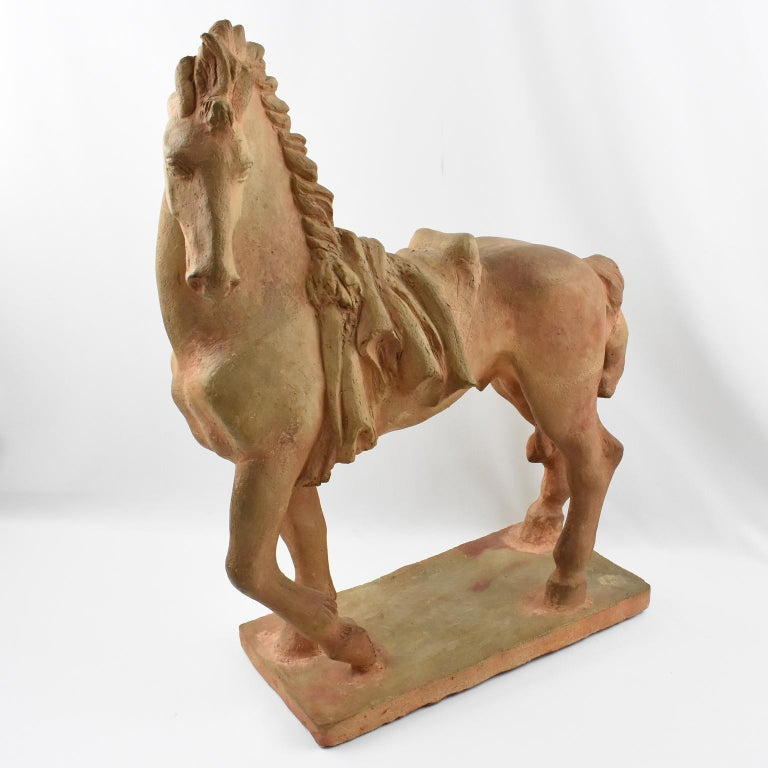 Art Deco French J. de Monpesat 1940s Figural Terracotta Sculpture of Horse For Sale