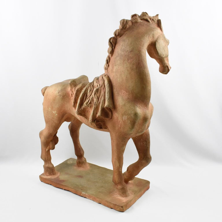 Mid-20th Century French J. de Monpesat 1940s Figural Terracotta Sculpture of Horse For Sale