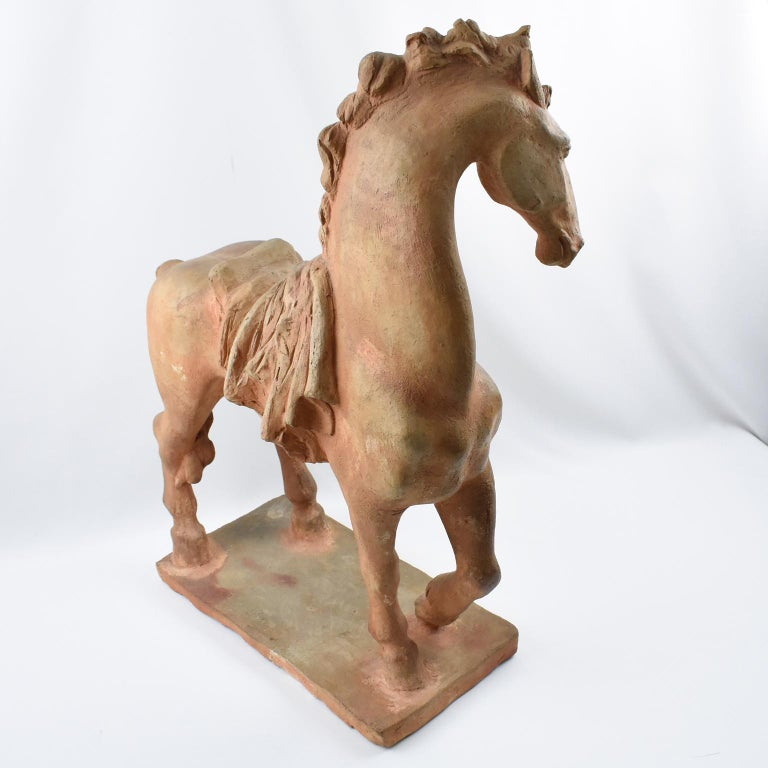 French J. de Monpesat 1940s Figural Terracotta Sculpture of Horse For Sale 3