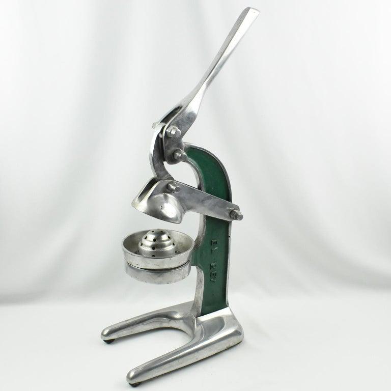 Industrial 1940s French Cast Aluminum Mechanical Lemon Squeezer Juicer For Sale