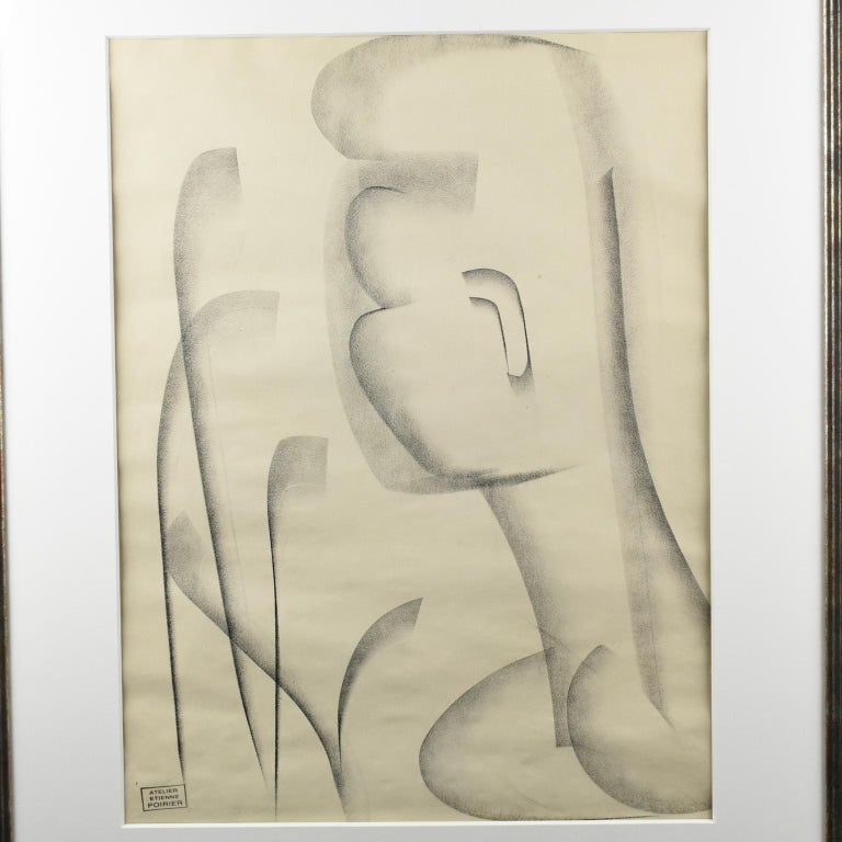 Minimalist Atelier Etienne Poirier France, 1950s, Charcoal Drawing 'The African' For Sale