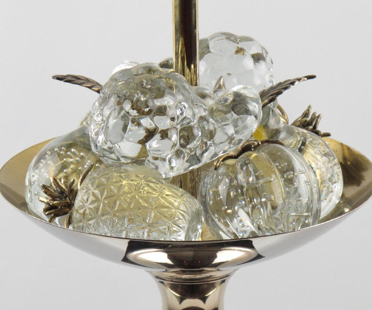 French 1960s Maison Charles Paris Brass and Black Enamel Table Lamp Crystal Fruits For Sale