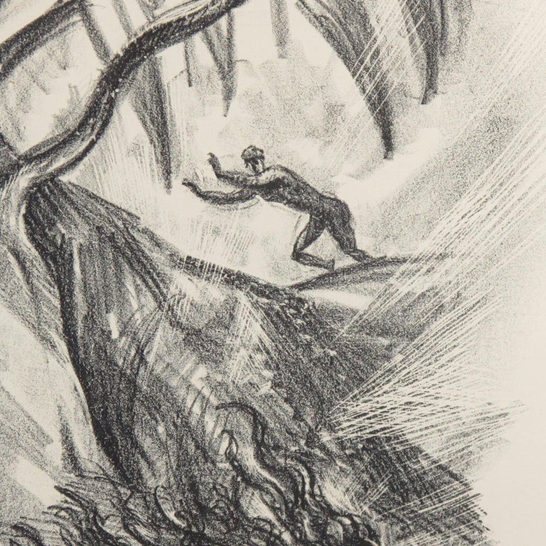 Early 20th Century Adolf Uzarski 1919 Charcoal Drawing Lithograph, Tales of the Parrot For Sale