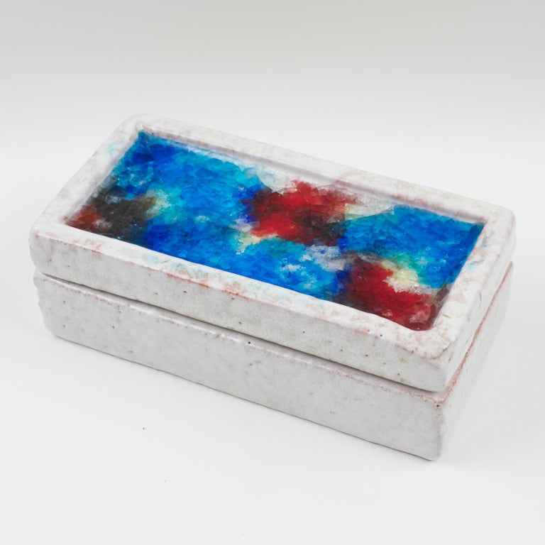 Mid-Century Modern Bitossi Italy Raymor Ceramic Box Fritte Fused Glass Mosaic MCM Colors For Sale