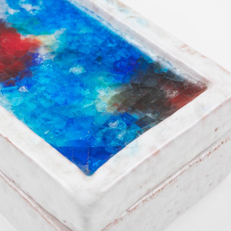 Bitossi Italy Raymor Ceramic Box Fritte Fused Glass Mosaic MCM Colors For Sale 1