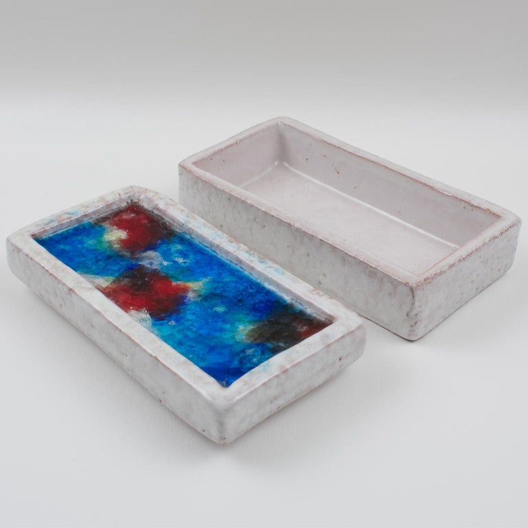 Bitossi Italy Raymor Ceramic Box Fritte Fused Glass Mosaic MCM Colors For Sale 5