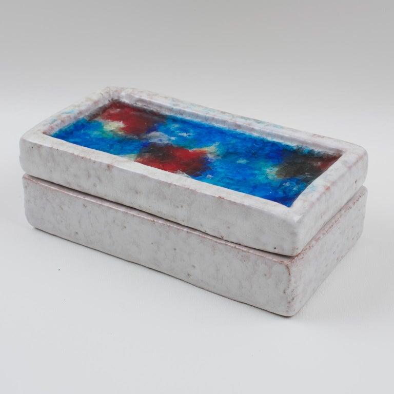 Bitossi Italy Raymor Ceramic Box Fritte Fused Glass Mosaic MCM Colors For Sale 6