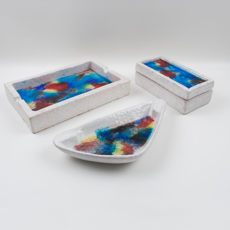 Bitossi Italy Raymor Ceramic Box Fritte Fused Glass Mosaic MCM Colors For Sale 8