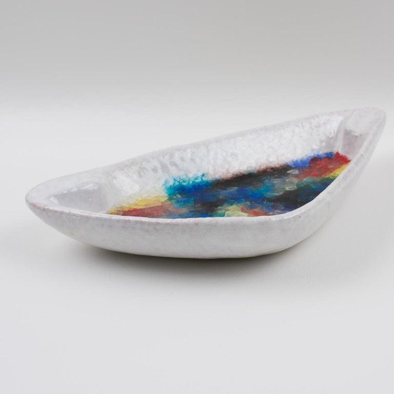 Italian Bitossi Italy Raymor Ceramic Bowl Ashtray Fritte Fused Glass Mosaic MCM Colors For Sale