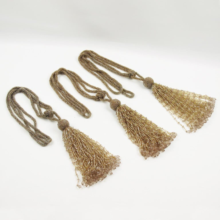 French Art Deco Trio of Crystal Beads Curtain Tassel Tie Backs Retainers In Excellent Condition For Sale In Atlanta, GA