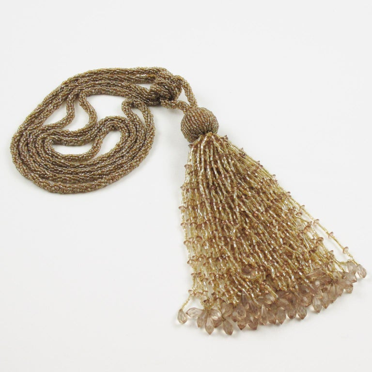 Mid-20th Century French Art Deco Trio of Crystal Beads Curtain Tassel Tie Backs Retainers For Sale