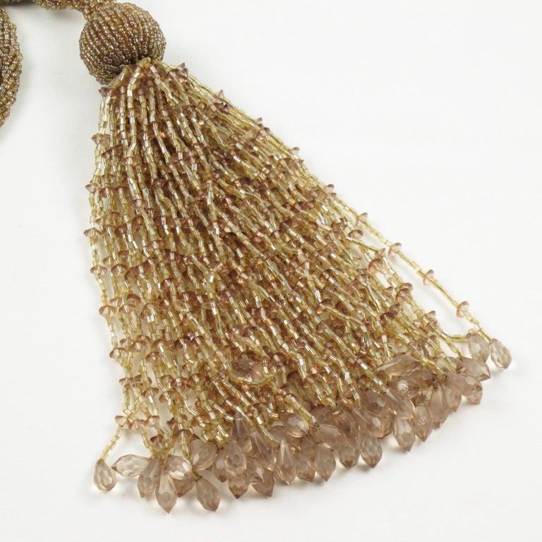 French Art Deco Trio of Crystal Beads Curtain Tassel Tie Backs Retainers For Sale 3