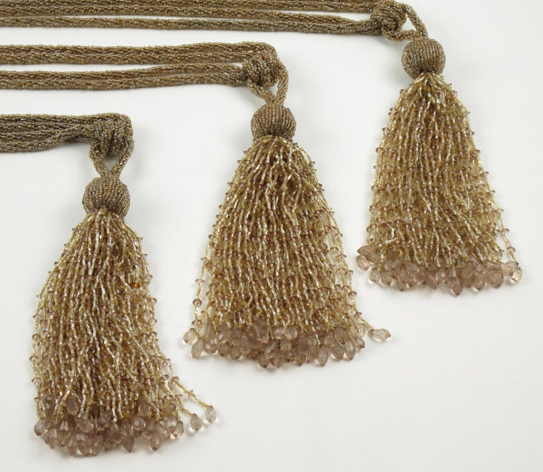 French Art Deco Trio of Crystal Beads Curtain Tassel Tie Backs Retainers For Sale 4