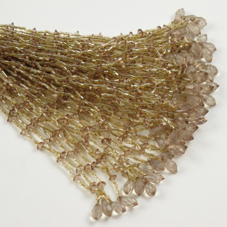 French Art Deco Trio of Crystal Beads Curtain Tassel Tie Backs Retainers For Sale 6