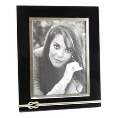 1970s Large Black Lucite and Chrome Picture Photo Frame