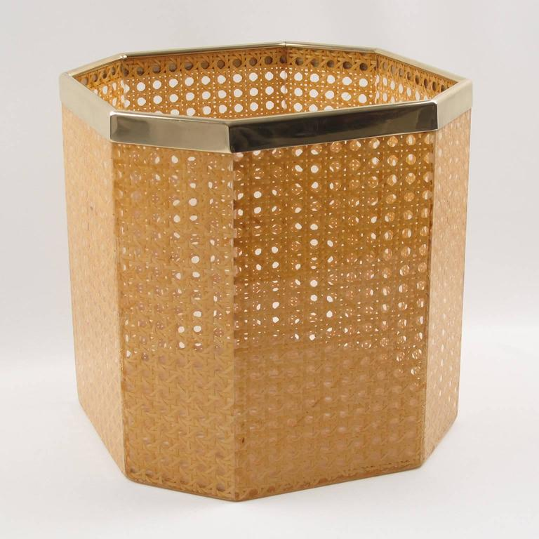 vintage 1970s lucite and rattan waste basket for christian dior