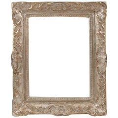 French Fine 17th Century Louis XIV Silver Leaf and Carved Oak Frame