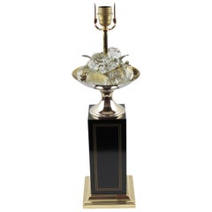 Maison Charles Paris Brass & Black Enamel Table Lamp Crystal Fruits, circa 1960s