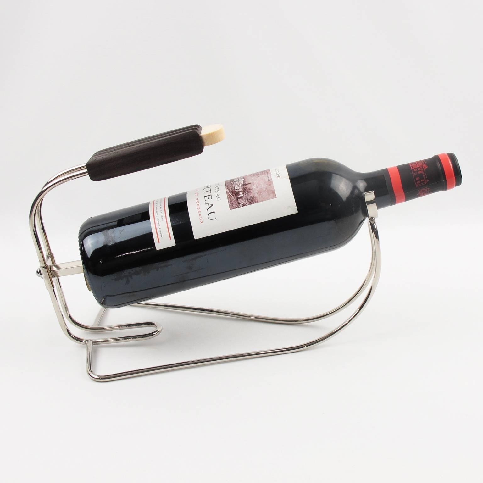 Fabulous French Art Deco Chromed Metal Bottle Holder Wine Pourer