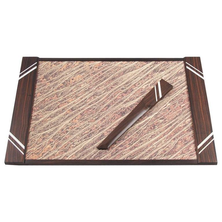 French Art Deco Macassar Desk Set Blotter Pad and Letter Opener