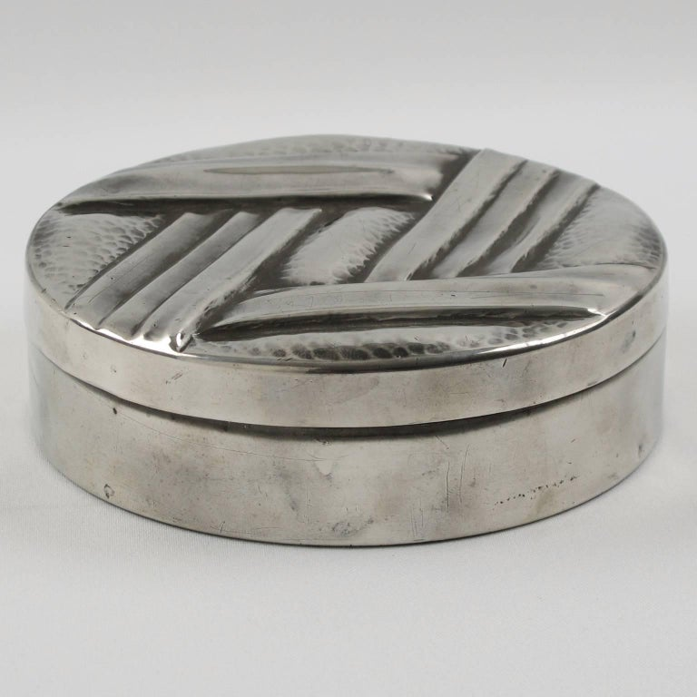 Art Deco Dinanderie Pewter Box by L. Guilbaud, France, circa 1930s 3