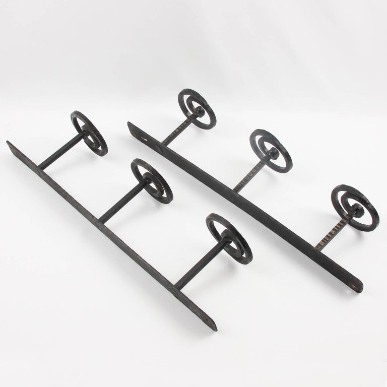 1910s French Art Nouveau Wall Mounted Pair Of Wrought Iron