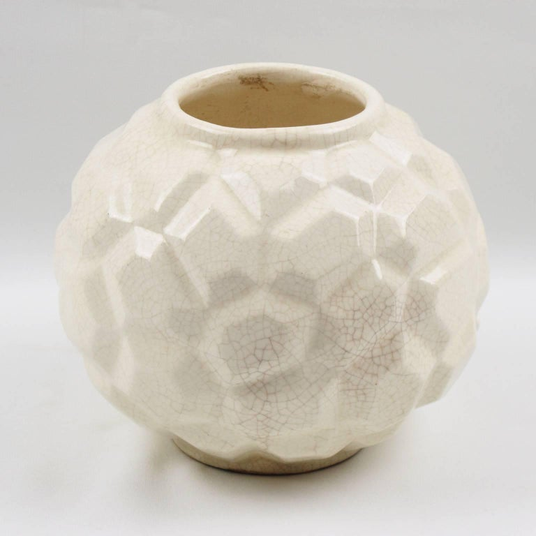 Mid-20th Century French Art Deco 1930s Saint Clement Crackle Glaze Ceramic Vase For Sale