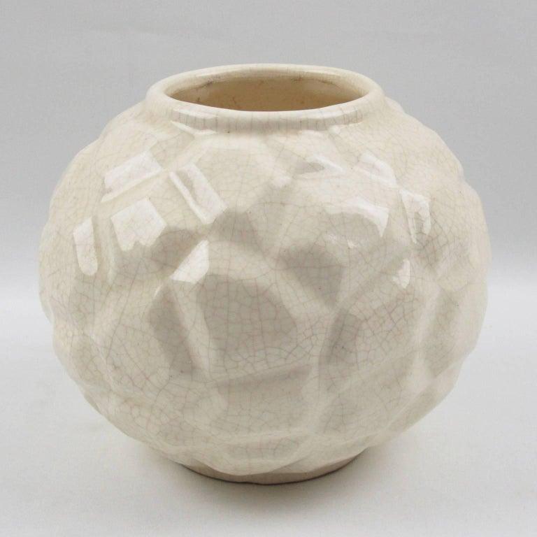 Glazed French Art Deco 1930s Saint Clement Crackle Glaze Ceramic Vase For Sale