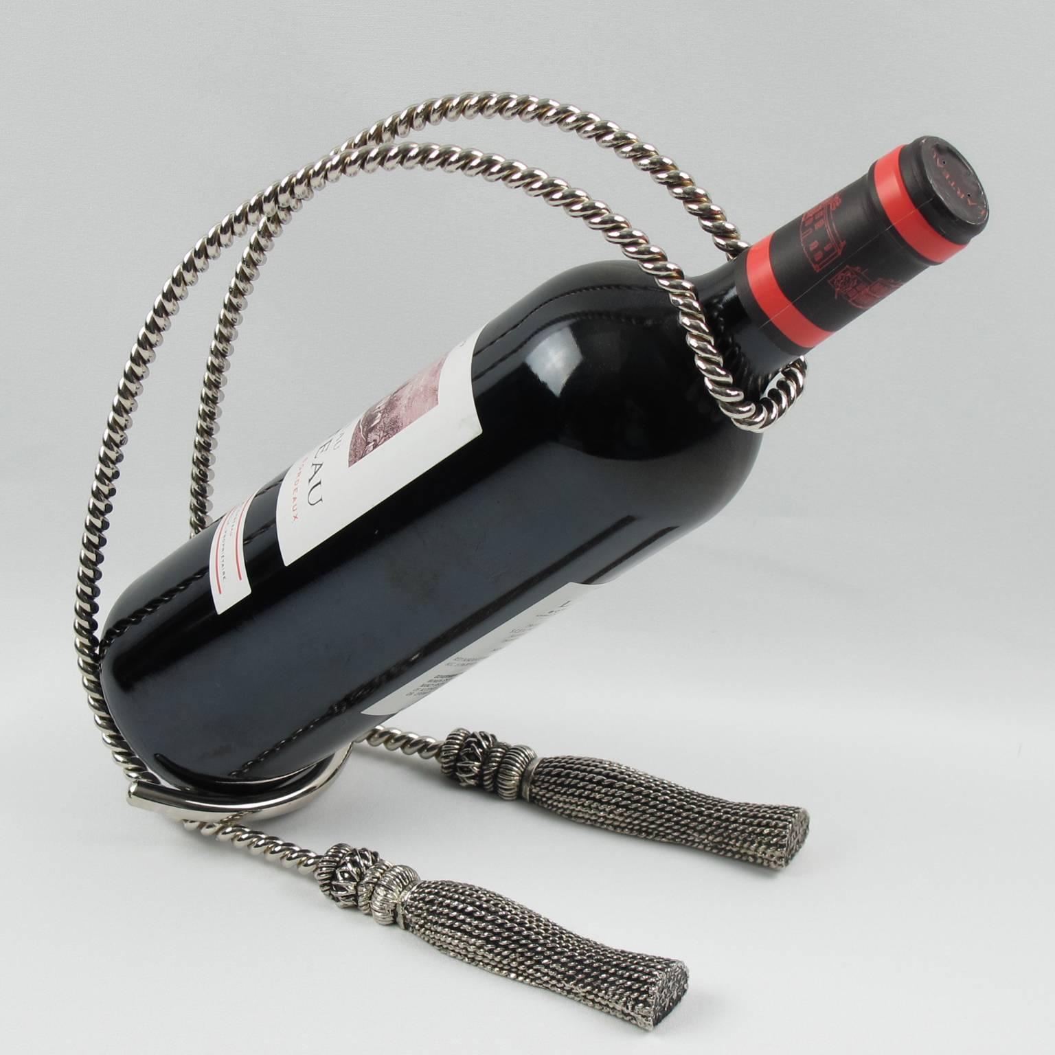 Silver Plate Wine Bottle Holder Pourer Caddy Rope and Tassel Design For Sale at 1stdibs & Silver Plate Wine Bottle Holder Pourer Caddy Rope and Tassel Design ...