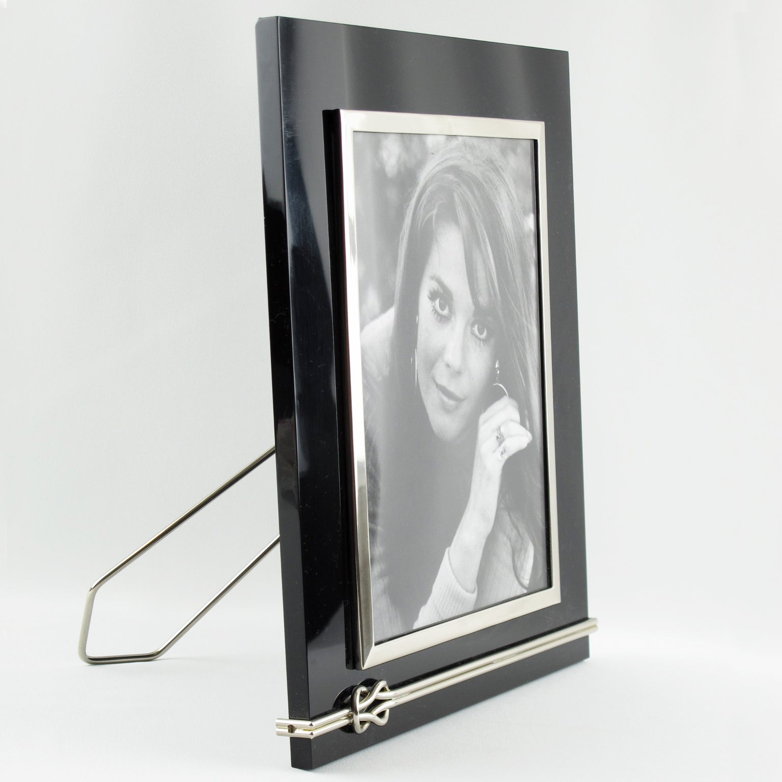 Large Modernist Black Lucite and Chrome Picture Photo Frame For Sale ...