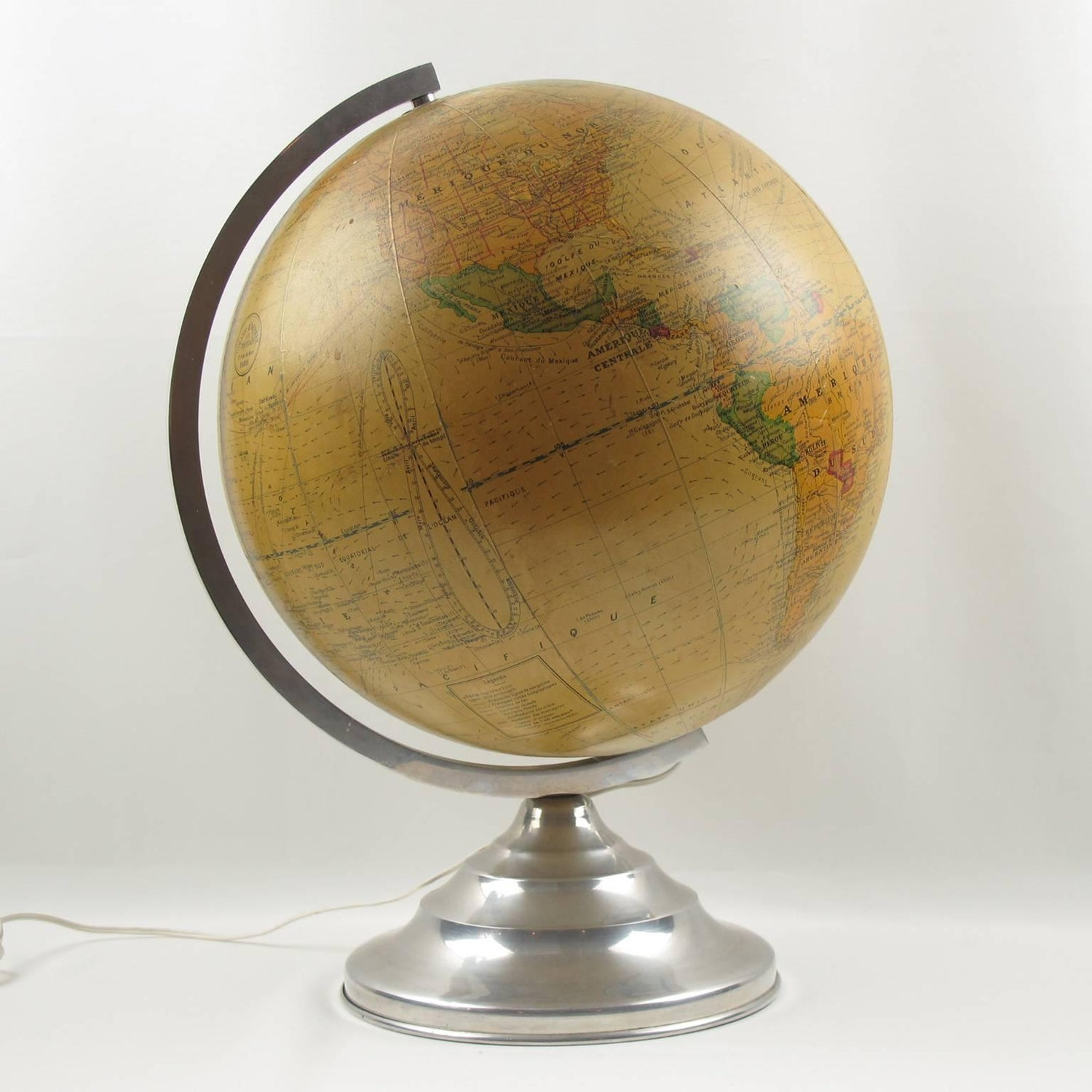 French Barrere And Thomas Terrestrial Glass Globe And Lamp On