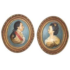 Most Rare Pair of Antique American 18th Century Papier Mâché Plaques, circa 1765