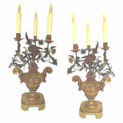 Antique Italian Tole and Floral Gilt Painted Carved Urn Electrified Candlesticks