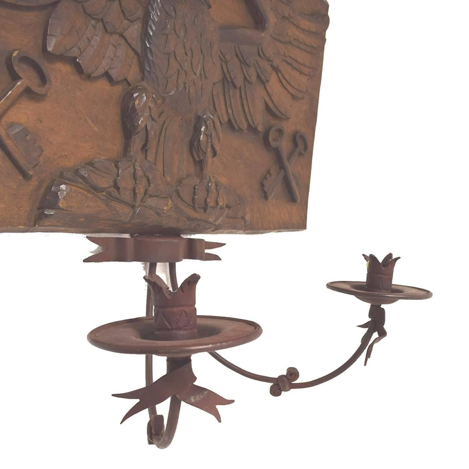 Decorative Antique Wall Sconces : Very Decorative Antique Austrian Walnut-Iron Double Arm Wall Sconce; circa 1870 For Sale at 1stdibs