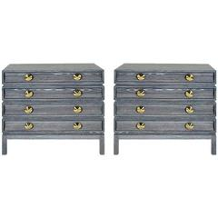 Pair of Stacked Bedside Tables in Grey Ceruse