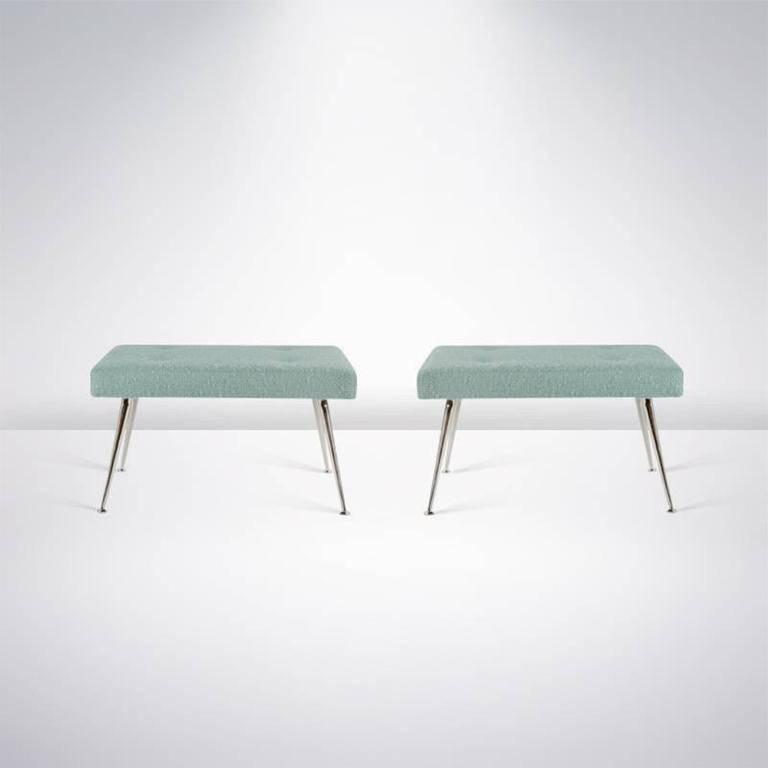Pair of White Brass Upholstered Benches 8