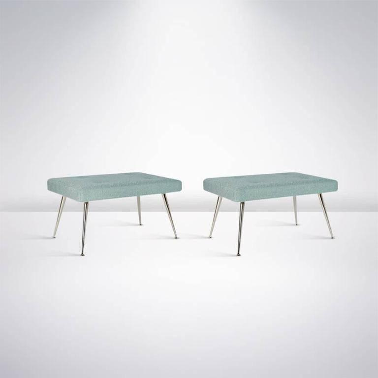 Pair of White Brass Upholstered Benches 3